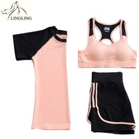 3 Pieces Yoga Sets Women Quick Dry Gym Suit Girls Fitness Yoga Clothes Training Sports Suits T-Shirt&Bra&Shorts 3 Colors