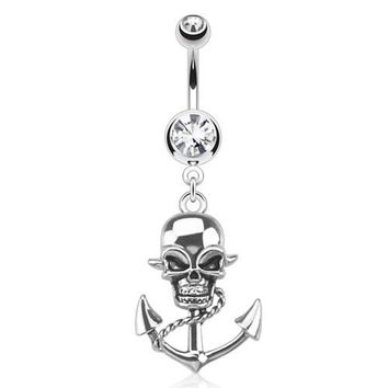 Pirate Skull Anchor Belly Ring