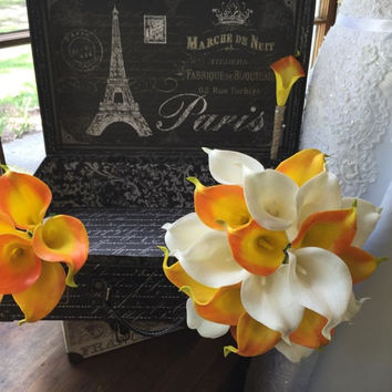 3 Piece Real Touch Orange White Calla Lily Wedding Bouquet Flower Set, Orange White Bouquet Orange Calla Lily Bouquet Rustic Wedding