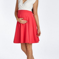 Coral Maternity Surplice Dress
