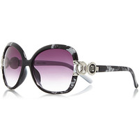 River Island Womens Black abstract print chain square sunglasses