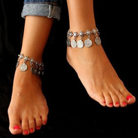 Tribal Bohemian Moon Lovers Coin Tassels Anklet Chain Bracelet Antique Silver Jewelry (Size: 1, Color: Antique silver) = 1928483204