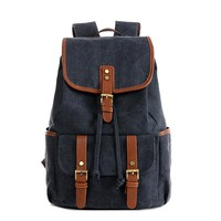 2016 New vintage backpack men's casual backpacks women men solid canvas school backpacks for teenager Men's Travel bags