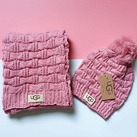 UGG Fashion Women Men Crochet Hat Scarf Set Two-Piece