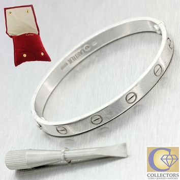 One-nice? Cartier 18k Solid White Gold Love Bangle Bracelet size 17 w pouch