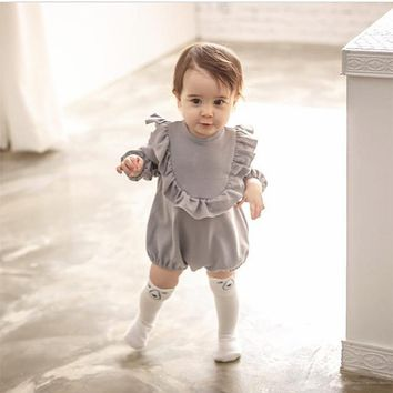 Toddler Girls Clothes Baby Romper long sleeve toddler girl ruffle romper Cotton Girl Clothes Kids Lovely Playsuit Gray Jumpduit