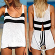 2016 Trending Fashion Summer Knit Black White Women Sexy Spagehetti Strap Split Top Women Tank Vest