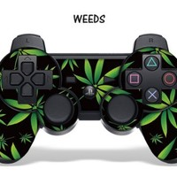 Designer Skin for Playstation 3 Remote Controller - Weeds Black