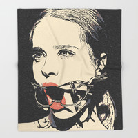 Talking heads, there is always way to change that, BDSM erotic artwork, gagged beauty portrait Throw Blanket by hmdesignspl