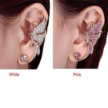 Hot Selling Retro Crystal Butterfly Wings Ear Clip Clamp Earring Fashion Jewelry