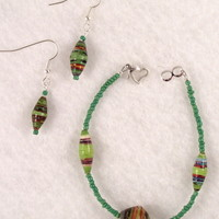 BRBFL03 Bracelet and Earrings are made with Handmade Paper Beads