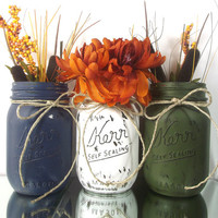 Set of Three, Hand Painted Mason Jars, Rustic - Style Home Decor -- Dark Blue, White and Dark Green Painted Jars