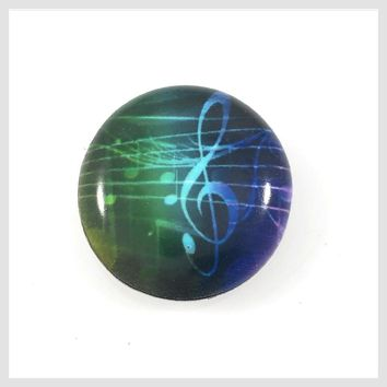 """Painted Enamel Music G Clef Notes 20mm 3/4"""""""