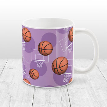 Purple Basketball Mug - Sports Themed Basketball Pattern on Purple - Basketball Coffee Mug - 11oz or 15oz - Made to Order