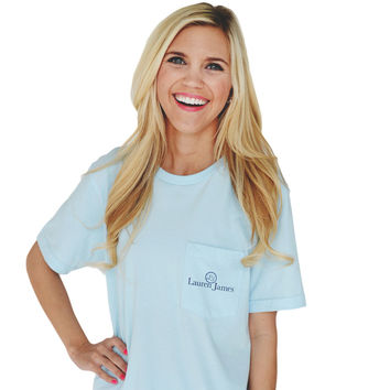 Life is Better in Seersucker Tee in Blue by Lauren James