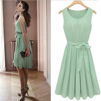 Elegant Mint Green Short Prom Dresses 2016 Simple Sashes Bow Short Prom Party Gowns Cheap Chiffon Knee Length Homecoming Dresses