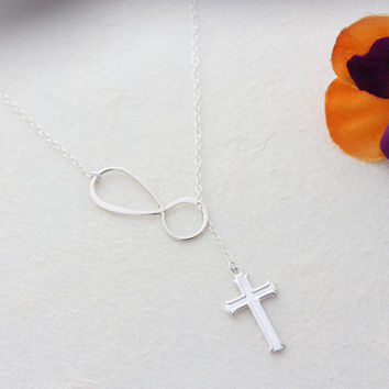 BLESSINGS Infinity Necklace . Sterling Silver Cross and infinity, Sister, Mom gift Ideas,  Monyart original design