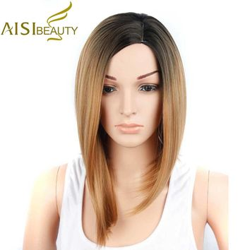 AISI BEAUTY Synthetic Short Wigs for Black Women Omble Straight Blonde Wig African American Hair