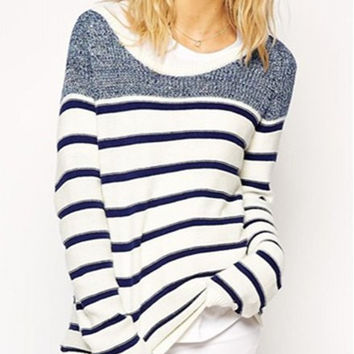 Blue and White Stripe Long Sleeve Sweater