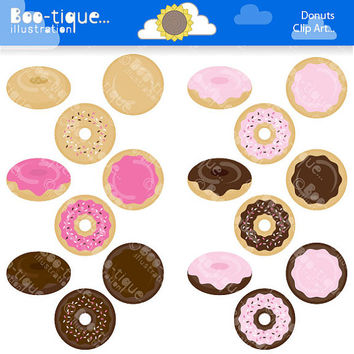 Donuts DIgital Clipart for Instant Download. Doughnuts Clip Art. Donuts Vector Illustrations.