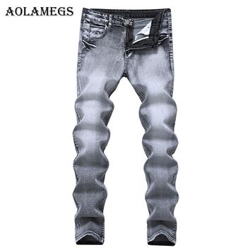 Aolamegs Men Jeans Pants Light Gray Pleated Stretch Slim Nostalgia Motorcycle Full Length Trouser Summer Splice Denim Fashion Mi