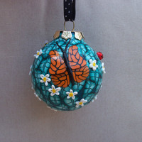 Christmas Tree Ornament, polymer clay, Butterfly Flower Garden