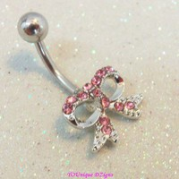 Bow belly ring, pink crystal bow bellybutton jewelry ring 14 ga 12mm