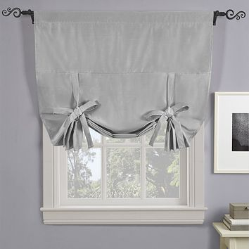 "SILVER Soho Triple-Pass Thermal Insulated Blackout Curtain Rod Pocket - Tie Up Shade for Small Window ( 42"" W X 63"" L)"
