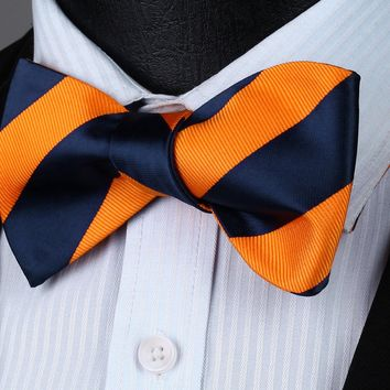 Navy Blue Orange Stripe Silk Self Bow Tie Pocket Square