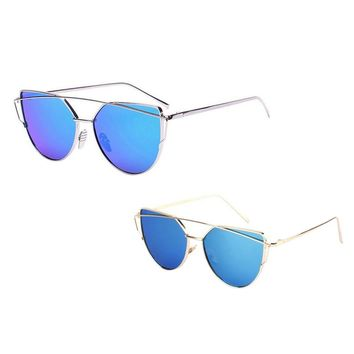 High Quality Sea Blue Fashion Sunglasses Women Twin-Beams Classic Women Metal Frame Mirror Sunglasses Cat Eye Glasses oculos