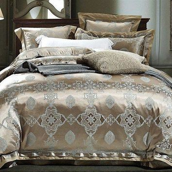 Luxury 4pc. Mauve & Blue Jacquard Embroidered King Duvet Cover Bedding Set