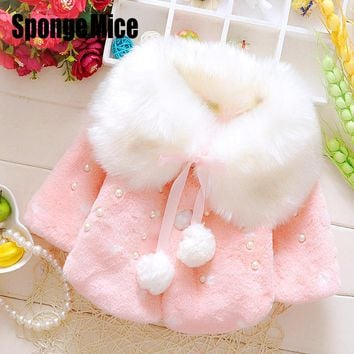 2017 Baby Girls Faux Fur pearl Bow tie Coat Kids Fleece Lined Coat Turn-down Collar WinterWarm Jacket Snowsuit z398