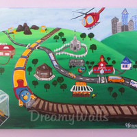 Boys Room Art, ORIGINAL Painting on Canvas, Train, Fire Station, Trucks, Helicopter, Tractor