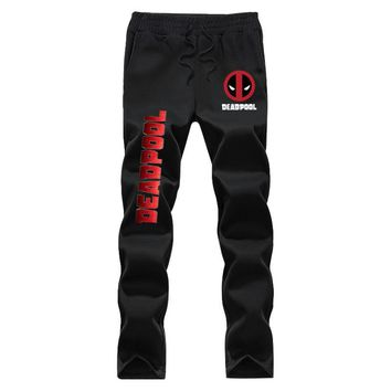 Brand Cartoon Deadpool X-menAutumn winter casual pants Printing elastic waist fleece men's trousers Sweatpants blackGrey