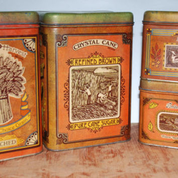 Vintage Cheinco Canister Set ofFour:  Flour, Sugar, Coffee, Tea