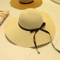 Women Foldable Wide Large Brim Floppy Summer Beach Sun Hat Straw Bowknot Cap