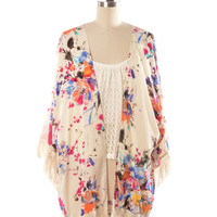 In Bloom Kimono With Fringe Detail