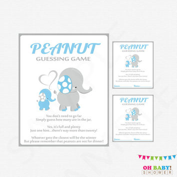 Blue and Gray Elephant Baby Shower, Guess How Many, Peanut Guessing Game, Baby Blue Shower Games Boy Printable Sign Instant Download, ELLBG