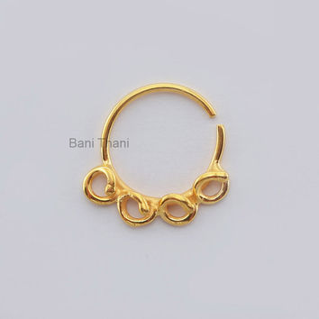 Handmade Gold Plated 925 Sterling Silver Nose Ring - Ethnic Septum Ring - Septum Jewelry - Nose Ring - Gypsy - #6698
