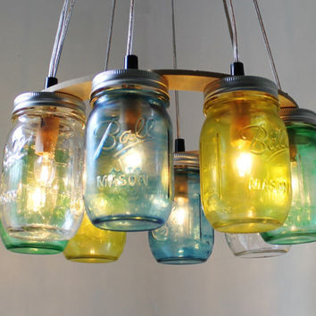 SEA GLASS Mason Jar Chandelier - Upcycled Hanging Mason Jar Lighting Fixture Direct Hardwire - BootsNGus Lamps Rustic Home Decor