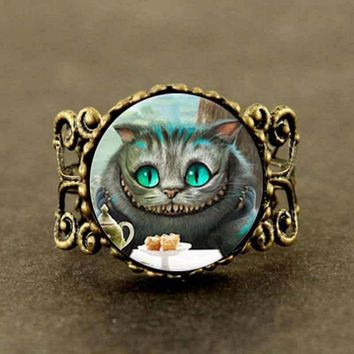 Alice in Wonderland Cheshire Cat ring Fairytale girl Jewelry women men gift vintage antique charm Rated 0.0 /5