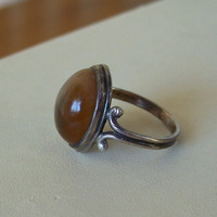 Vintage Agate Silver Ring Hand Made Dome Cab Size 8