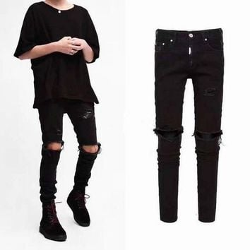knee ripped men jeans urban clothing punk korean blue black designer distressed stretch skinny ripped jeans M-XXL