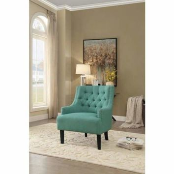 Fabric Upholstered Accent Chair With Wooden Legs In Teal Blue