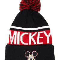 FOREVER 21 Mickey Pom Pom Beanie Black/Red One