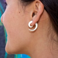 Fake Gauges - Small Spirals - Organic Bone Earrings