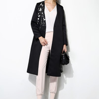 Embroidery Long Button Coat OU0007