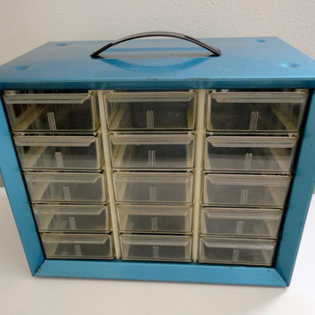 Vintage Industrial Metal Cabinet in BLUE by KimBuilt on Etsy