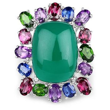 A Natural 19.85 Green Chelcedonia & Natural Gems Ring
