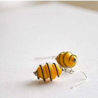 Yellow Twist Earrings, Lampwork Glass Earrings, Corkscrew Earrings